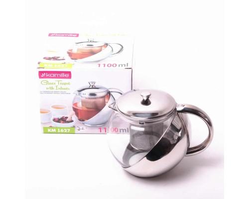 Заварочный чайник Kamille на 1100 мл со съемным ситечком KM-1627 PM
