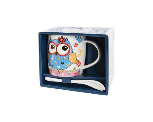 Кружка c ложкой 350 мл. Milika Owl Blue Color в подарочной упаковке детская PM