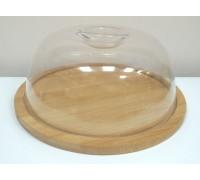 Доска бамбуковая для сыров или мясных закусок пластиковой крышкой Tadar PM
