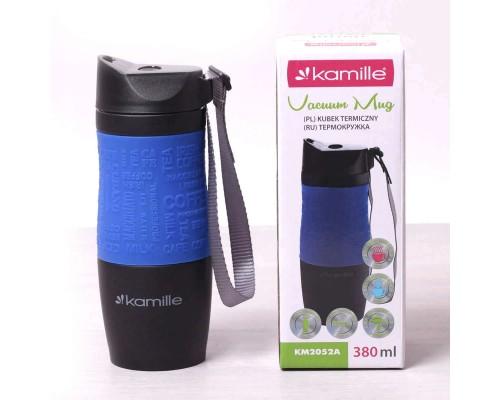 Термокружка Kamille 380 мл из нержавеющей стали Черная / Синяя КМ-2052A PM