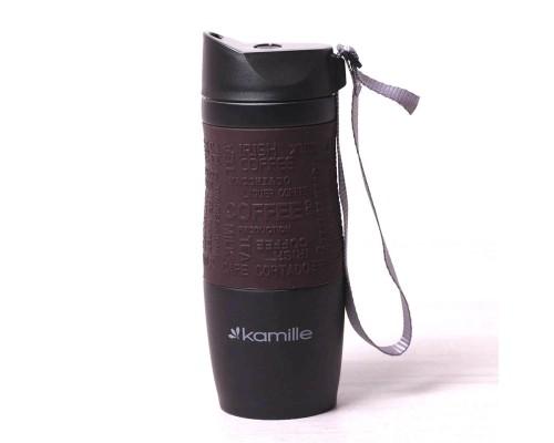 Термокружка Kamille 380 мл из нержавеющей стали Черная / Коричневая КМ-2052A PM