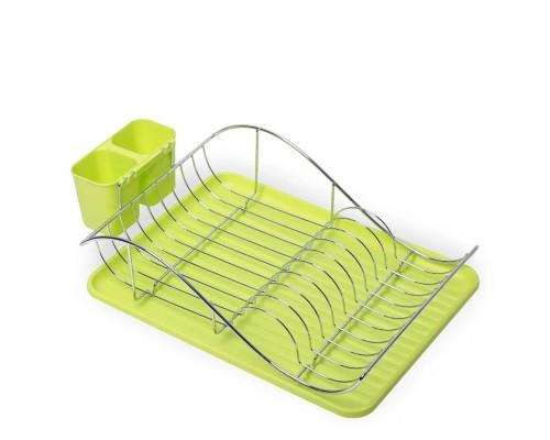Сушка для посуды 53 х 23 х 36 см см Kamille KM-0761A из хромированной стали с поддоном зеленая