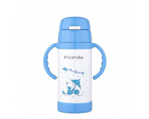 Термос-бутылка детская 350 мл. Kamille 2085 нержавеющая сталь голубой  PM