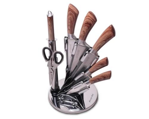 Набор кухонных ножей и ножницы Kamille на акриловой подставке 8 предметов КМ-5048 PM