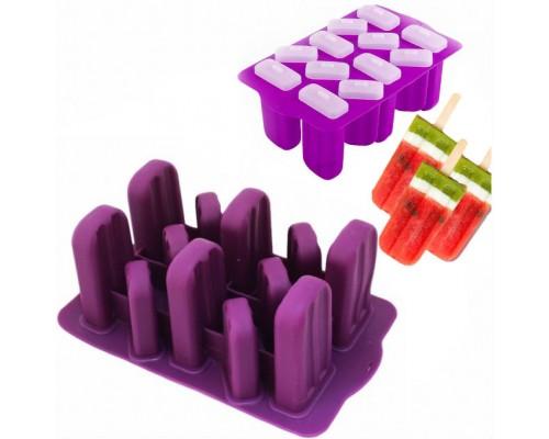 Форма для мороженого эскимо SNS силиконовая с крышечками 12 ячеек 24 х 14,5 см PM
