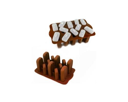 Форма для мороженого эскимо SNS силиконовая с крышечками 12 ячеек 24 х 14,5 см коричневая PM