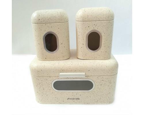 Хлебница Kamille 30 х 19.5 х 14 см с 2 емкостями для хранения из нержавеющей стали бежевый мрамор КМ-1112 PM
