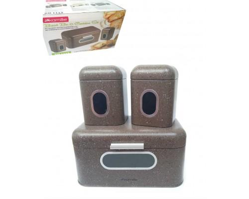 Хлебница Kamille 30 х 19.5 х 14 см с 2 емкостями для хранения из нержавеющей стали коричневый мрамор КМ-1112 PM