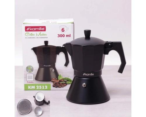 Кофеварка гейзерная Kamille 300 мл (6 порции) алюминиевая с широким индукционным дном КМ 2512 PM