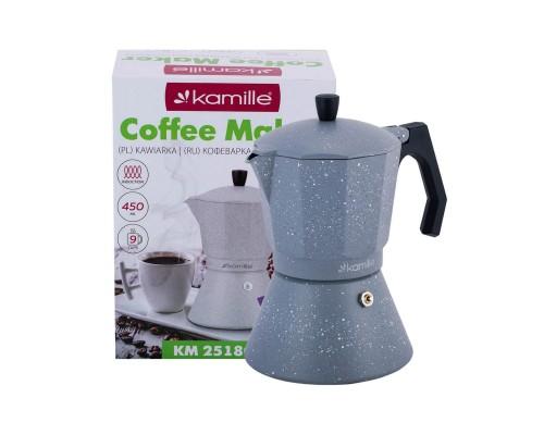 Кофеварка гейзерная Kamille 450 мл (9 порции) алюминиевая с широким индукционным дном КМ-2518GR PM