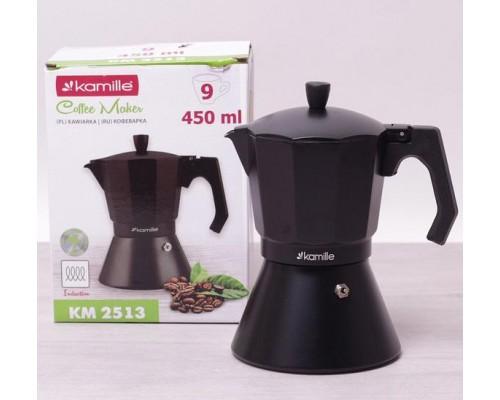 Кофеварка гейзерная Kamille 450 мл (9 порции) алюминиевая с широким индукционным дном КМ 2513 PM