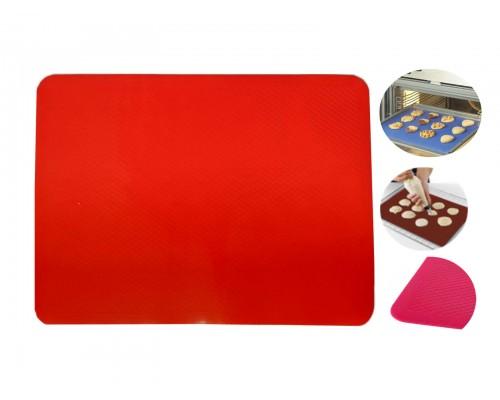Коврик силиконовый для выпечки рифленый 37 х 27 см красный Stenson PM