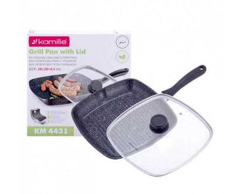 Сковорода-гриль 28 х 28 см с крышкой и антипригарным покрытием из литого алюминия для индукции Kamille KAM-4431 PM