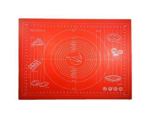 Силиконовый коврик Genes 70 на 50 см для раскатки теста красный