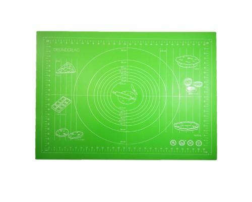 Силиконовый коврик Genes 70 на 50 см для раскатки теста зеленый