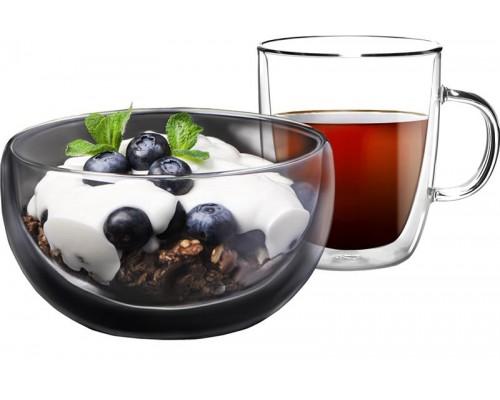 Набор для завтрака Ardesto чашка 270 мл и пиала 500 мл с двойными стенками боросиликатное стекло AR2650BG PM