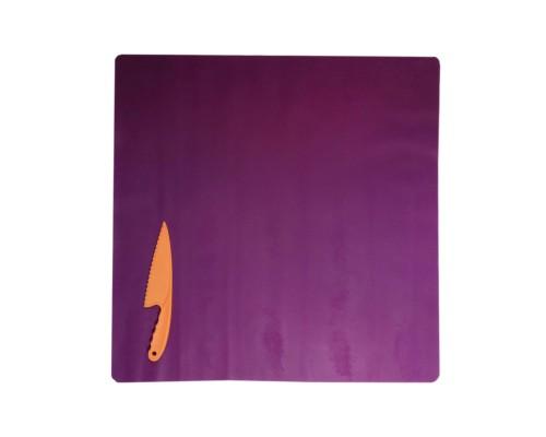 Набор фиолетовый силиконовый коврик для раскатки теста 70 см на 70 см и нож пластиковый