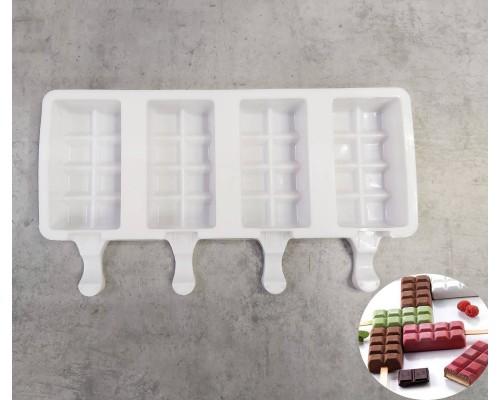 """Силиконовая форма для мороженого эскимо """"Шоколад"""" 25,9 х 14,7 х 2,5 см SNS PM"""