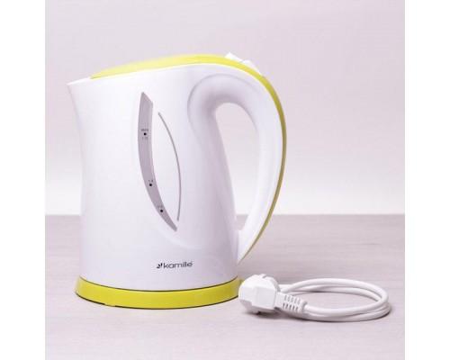 Чайник Kamille 1717A объем 1,7 литра, электрический, пластик белый с салатовым.