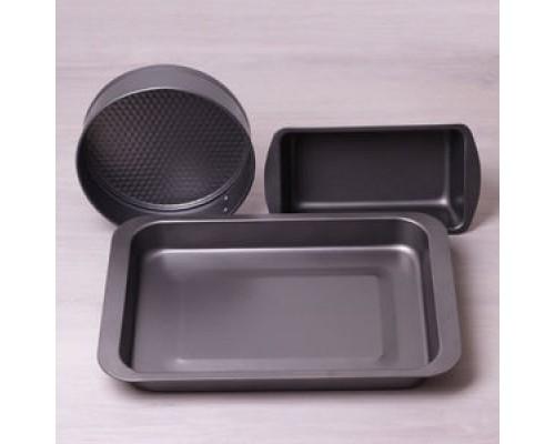 Набор форм для выпечки Kamille 6024 из 3 шт. из углеродистой стали.