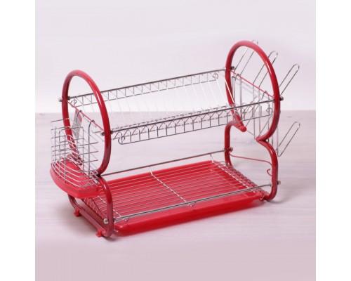 Сушка для посуды Kamille 0768К 2-х ярусная 55*24,5*39 см, красная.