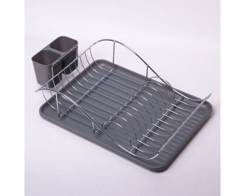 Сушка для посуды 53 х 23 х 36 см Kamille КМ-0761B из хромированной стали с поддоном черная