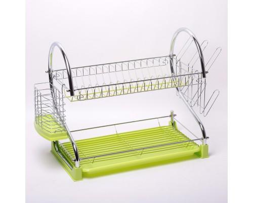 Сушка для посуды 55 х 24 х 37 см Kamille 0762A 2-х ярусная из хромированной стали с поддоном зеленый