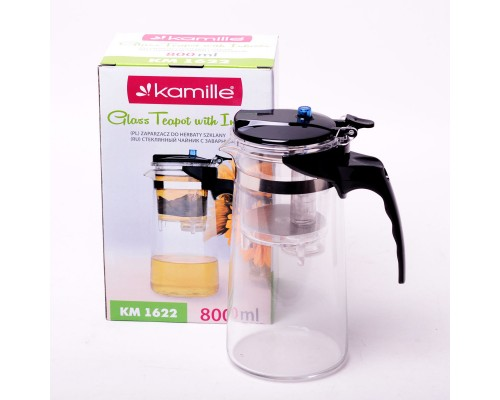 Заварочный чайник Kamille 1622 на 800 мл со съемным ситечком.