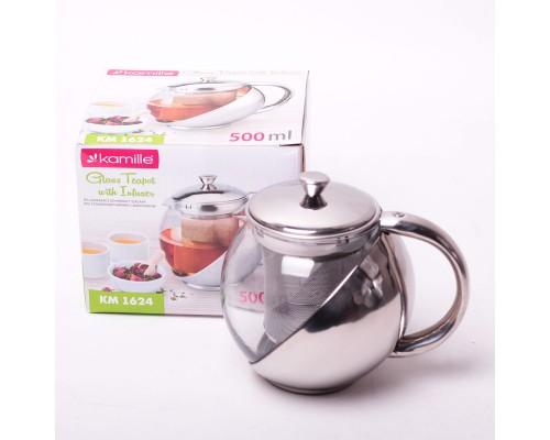 Заварочный чайник Kamille на 500 мл со съемным ситечком KM-1624 PM