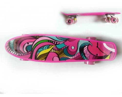 Детский скейт пенни-борд розовый Profi MS 0749-5 PM