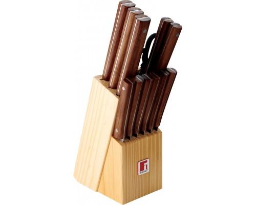 Набор ножей Bergner 8910 из 13 предметов на деревянной подставке.