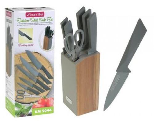 Набор ножей Kamille 5044 на деревянной подставке.