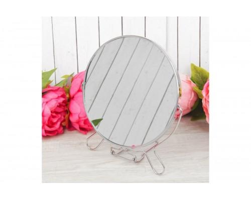 Двустороннее косметическое зеркало для макияжа на подставке Two-Side Mirror 16 см (418-6) PM